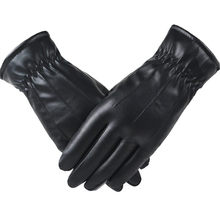 Ladies Leather Windproof Gloves Winter Women Waterproof Mittens Plus Velvet Female Thermal Thick Gloves Dual Lining Black Luvas(China)
