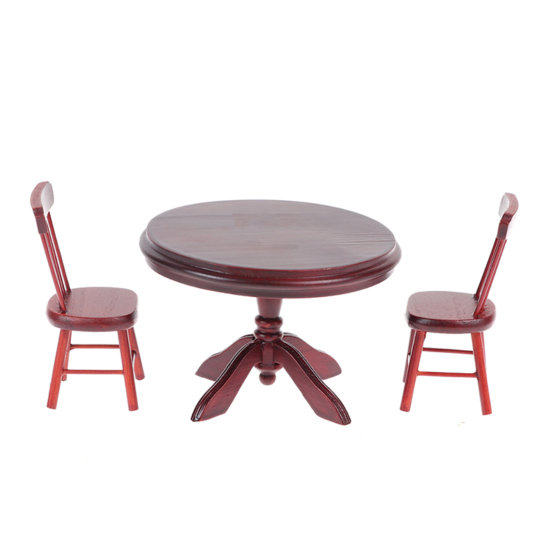 1Set 1/12 <font><b>Miniature</b></font> Doll House Wooden Dining Table Chairs Modern Style Kitchen <font><b>Furniture</b></font> Doll House Decor Kids Toys image