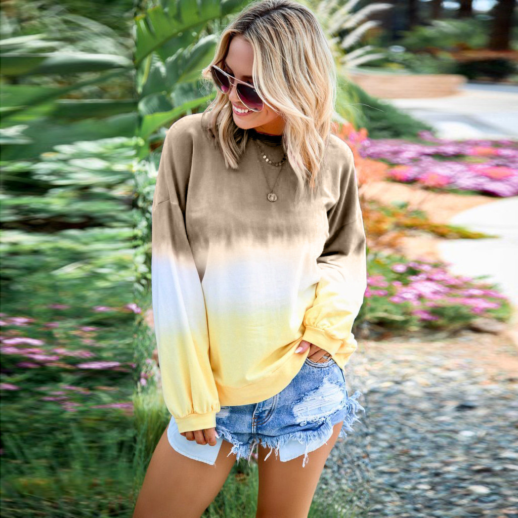 Plus Size Autumn Gradient Color Pullover Fashion Basic Sweatshirt Casual Hoodie Blouse Tops Female Womens Long Sleeve Pullover