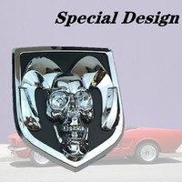 Tik Tok Car Styling 3D Metal Car Stickers Head Grill Tailgate Ram Head Emblem Badge Sticker For Dodge Ram 1500 Auto Accessories