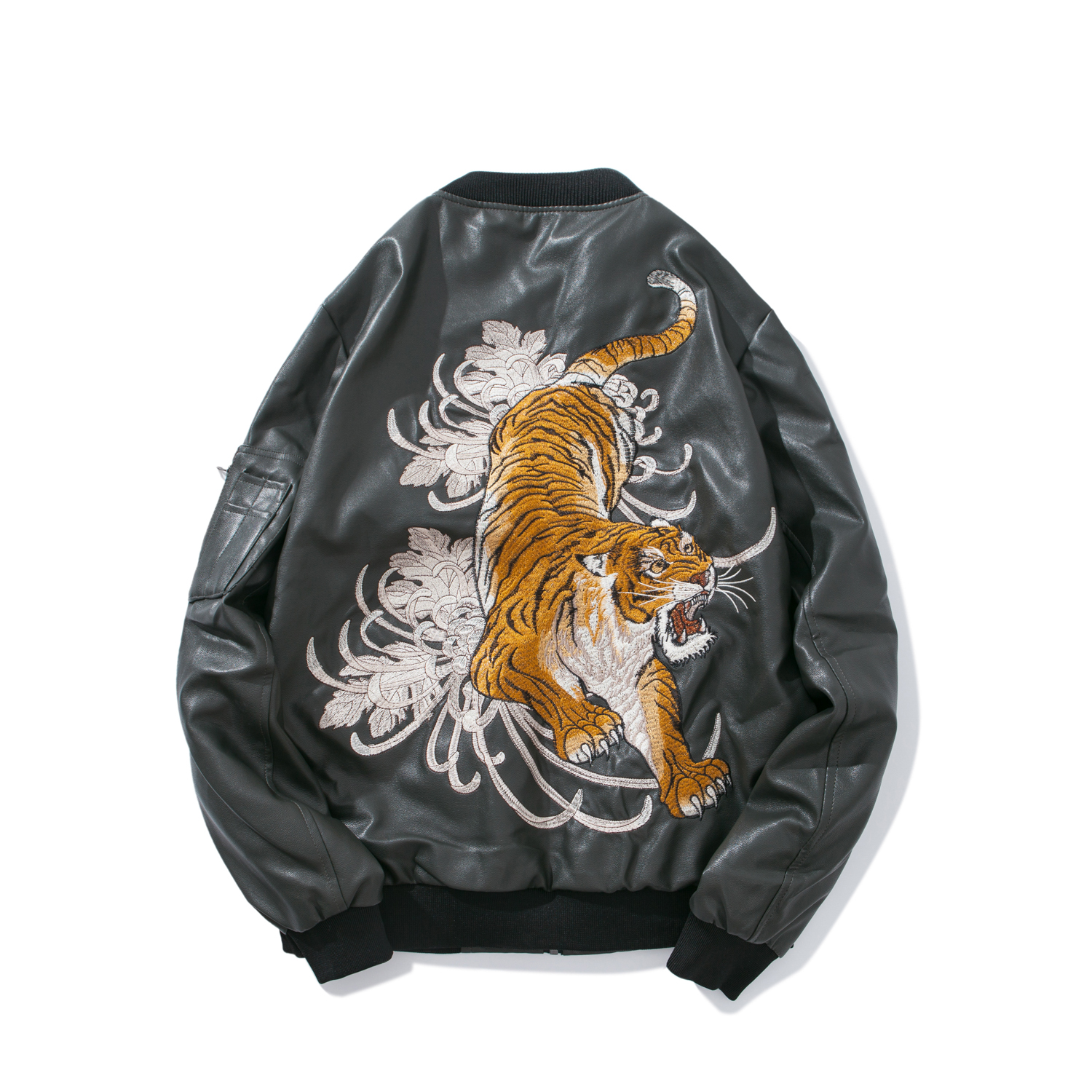 New Mens Leather Jacket Sukajan Japanese Embroidered Tiger Bomber Coat Outwear B7