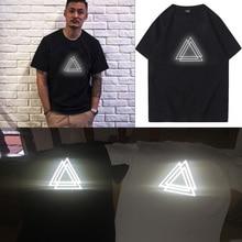 TOPESKO Man Fashion Reflect Light T shirt Reflective Cotton