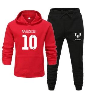 Image 3 - Новинка 2020, спортивный костюм, модная мужская спортивная одежда с Месси 10, комплект из двух предметов, толстая хлопковая флисовая толстовка + штаны, мужской спортивный костюм