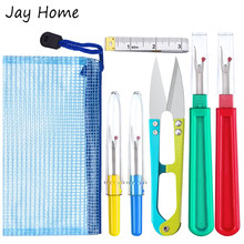 7Pcs Sewing Seam Ripper Kit Thread Seam Remover Thread Cutter Tools with U Scissor Soft Measure Tape Storage Bag Sewing Supplies