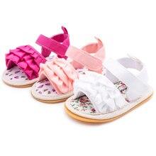 Обувь для маленьких девочек; сандалии на плоской подошве для малышей; Высококачественная обувь на мягкой резиновой подошве с нескользящей подошвой; летняя кружевная обувь с цветочным узором для малышей; обувь для первых шагов