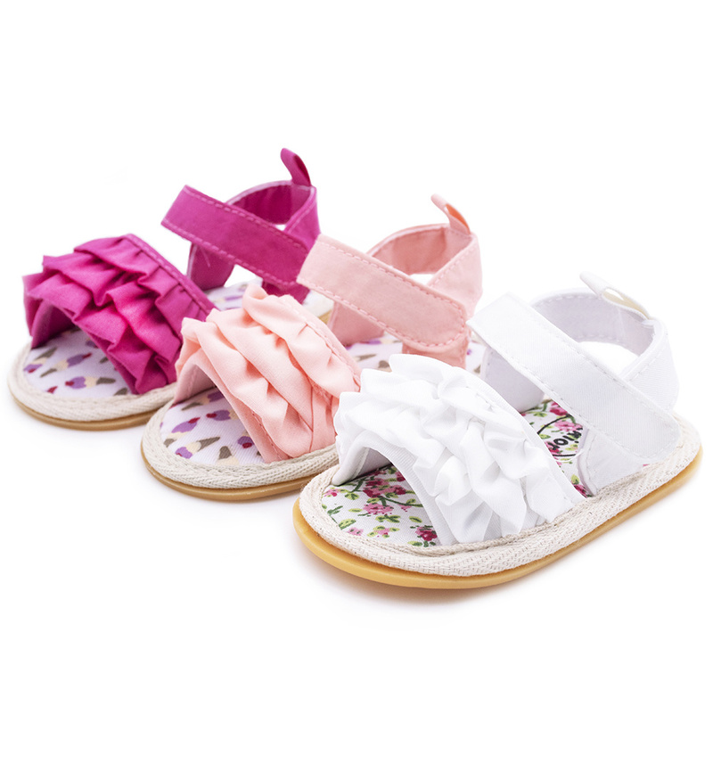 Infant Baby Girl Shoes Toddler Flats Sandals Premium Soft Rubber Sole Anti-Slip Summer Flower Lace Crib First Walker Shoes