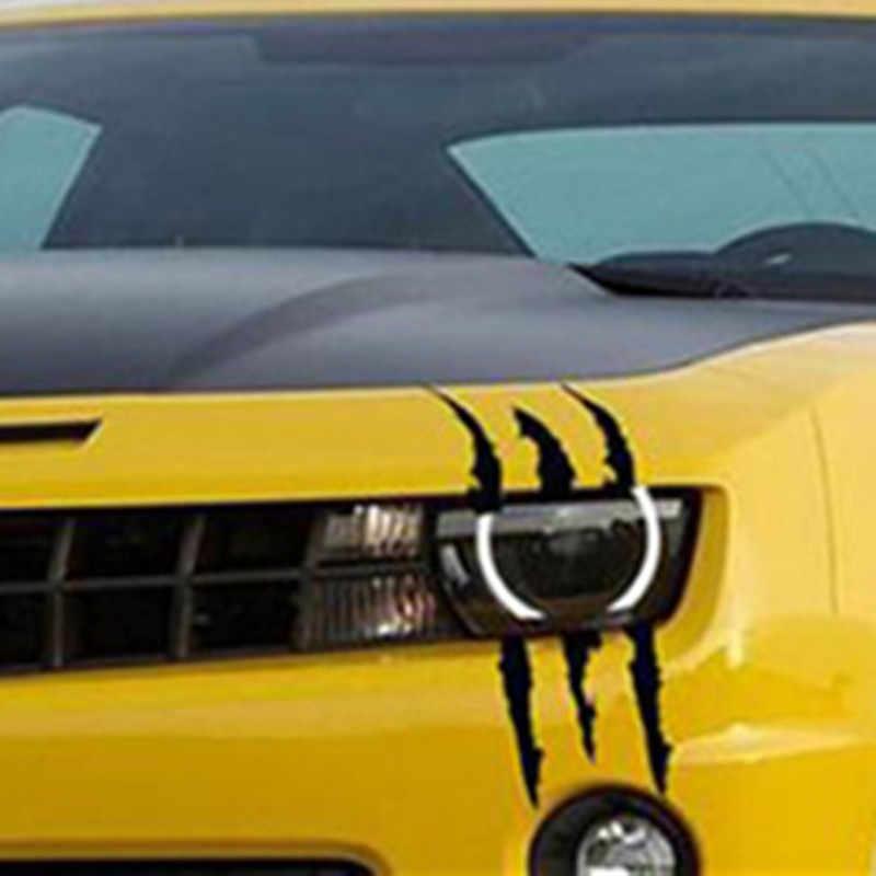 Divertido coche pegatina reflectante monstruo tira tipo arañazo garra marcas coche Auto faro decoración arte diseño vinilo pegatina pegatinas para coche
