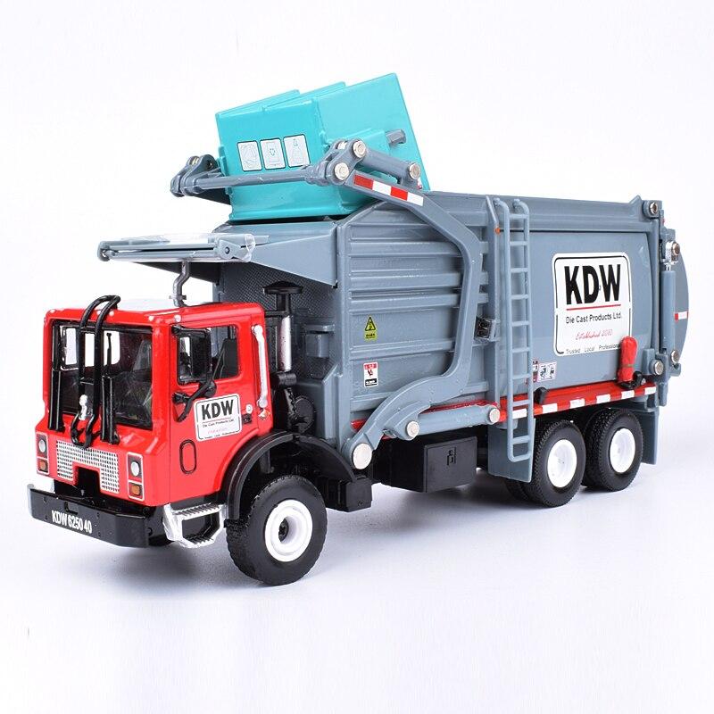 Liga diecast barrelled caminhão transportador de lixo 124 material waste transportador veículo modelo hobby brinquedos para crianças presente natal