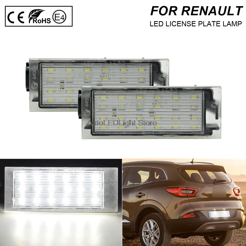 2x 18 SMD LED Number License Plate Light Lamp For Renault Megane MK2 MK3 Clio CE