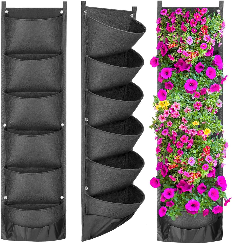AMKOY NEW DESIGN Vertical Hanging Garden Planter Flower Pots Layout Waterproof Wall Hanging Flowerpot Bag Perfect Solution