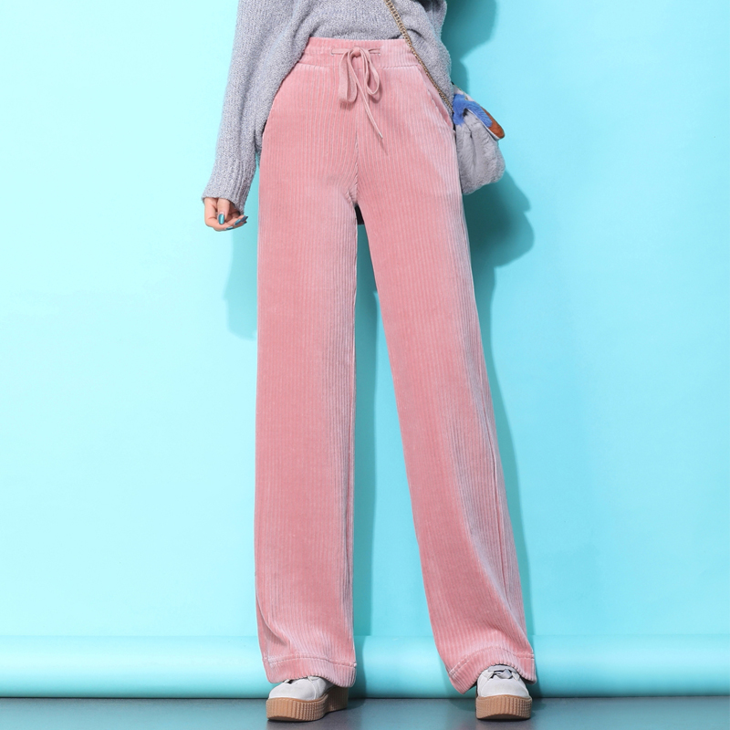 Autumn Winter Corduroy Pants For Women Solid Color Loose Women's Trousers New Plus Size Pants Women High Waist Wide Leg Pants