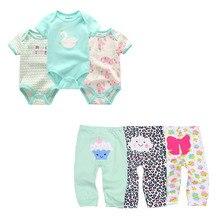 חמוד Bodysuits + מכנסיים ערכות בגדי ילדה תינוק 0 12M תינוק בגדי ילדה ילד לשני המינים יילוד תינוק כותנה Roupa דה bebe