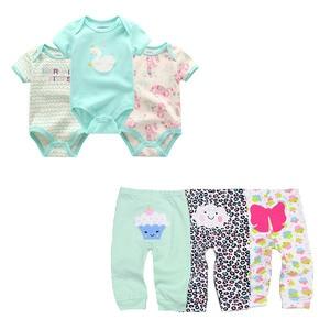 Image 1 - cute Bodysuits+Pants Baby Boy Girl Clothing Sets 0 12M Baby Boy Girl Clothes Unisex Newborn Baby Cotton Roupa de bebe