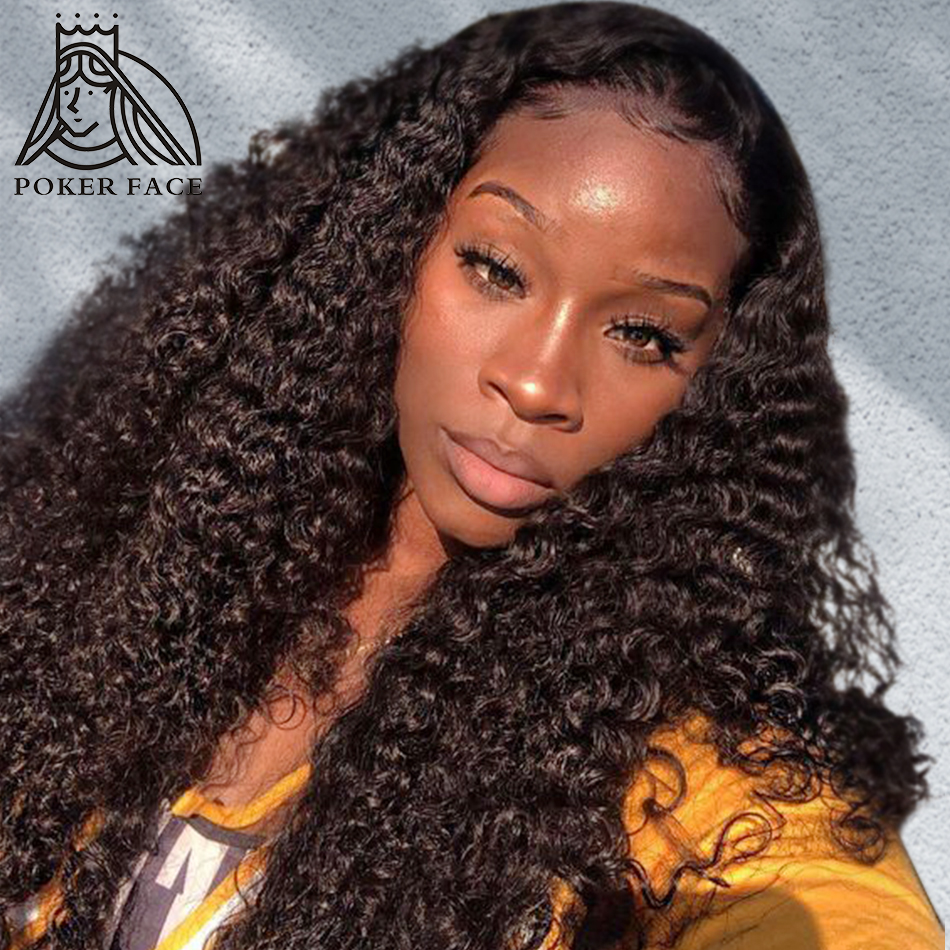 30 Inch Deep Wave Lace Front Human Hair Wigs Plucked Hairline With Baby Hair Peruvian Kinky Curly Wig 4x4 Lace Closure Wig Remy