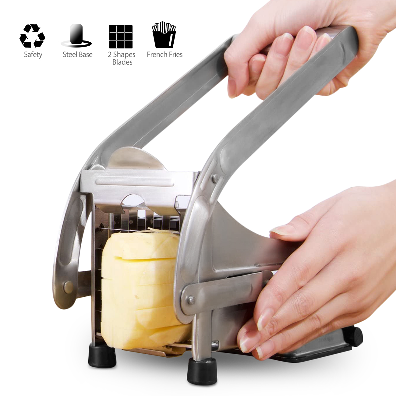 Stainless Steel French Fry Cutter,Vegetable and Potato Slicer,with 2 Blade Size Cutter Option,Safe Slice Meal Pre Easy Install