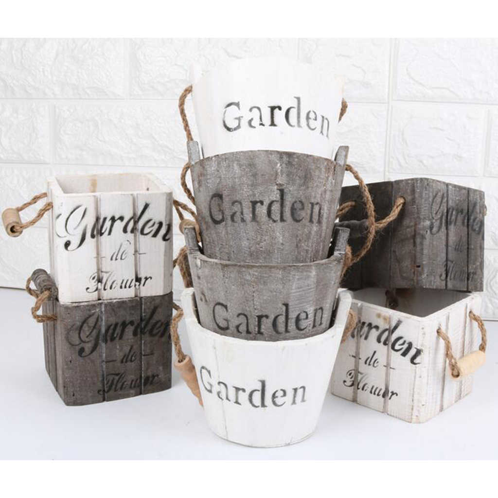 VINTAGE Retro ไม้ Barrel Planter VINTAGE ดอกไม้หม้อ,Rustic Plant Barrel