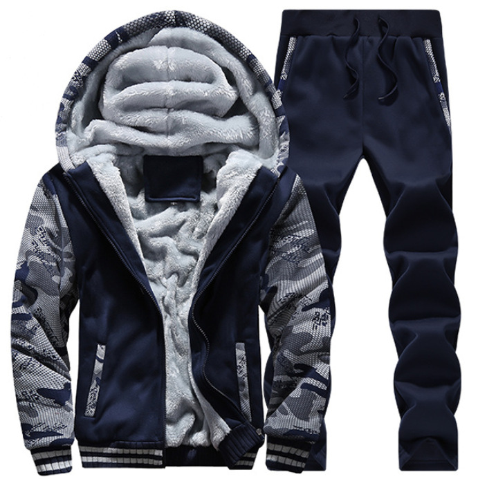 Autumn & Winter Brushed And Thick Set Men's Teenager Hooded Cardigan Hoodie Warm Two-Piece Set Athletic Clothing MEN'S Suit