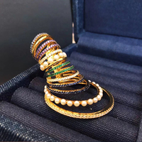 fashion 925 Sterling Silver Big Multicolor circle Hoop Ear Cuff with Pearls cz colored Circles Clip Earring Women Monaco Jewelry