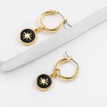 Золотые винтажные круглые серьги с черной эмалью металлические