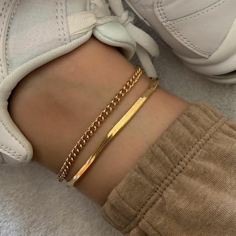 Golden Rose Gold Titanium Steel Flat Snake Bone Chain Anklet Female Ankle Bracelet Boho Jewelry