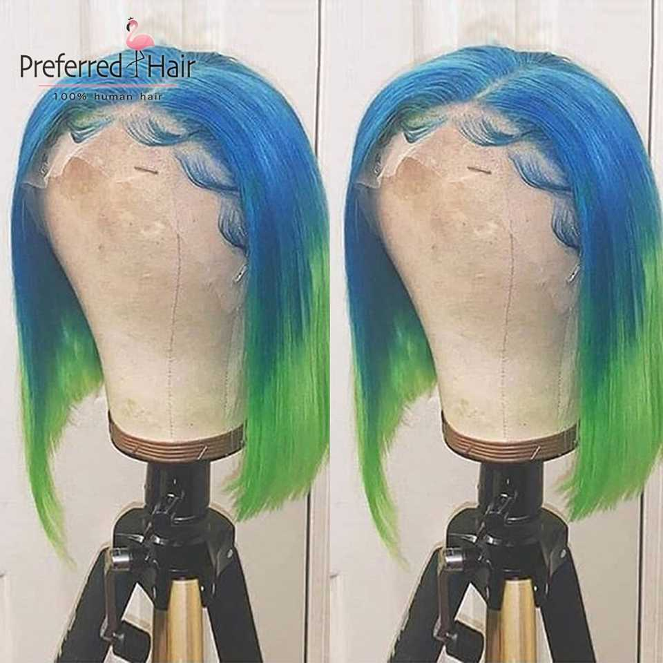 Preferred Brazilian Remy Bob Wig 13x6 Ombre Lace Front Wig With Baby Hair Preplucked Short Human Hair Wigs For Black Women