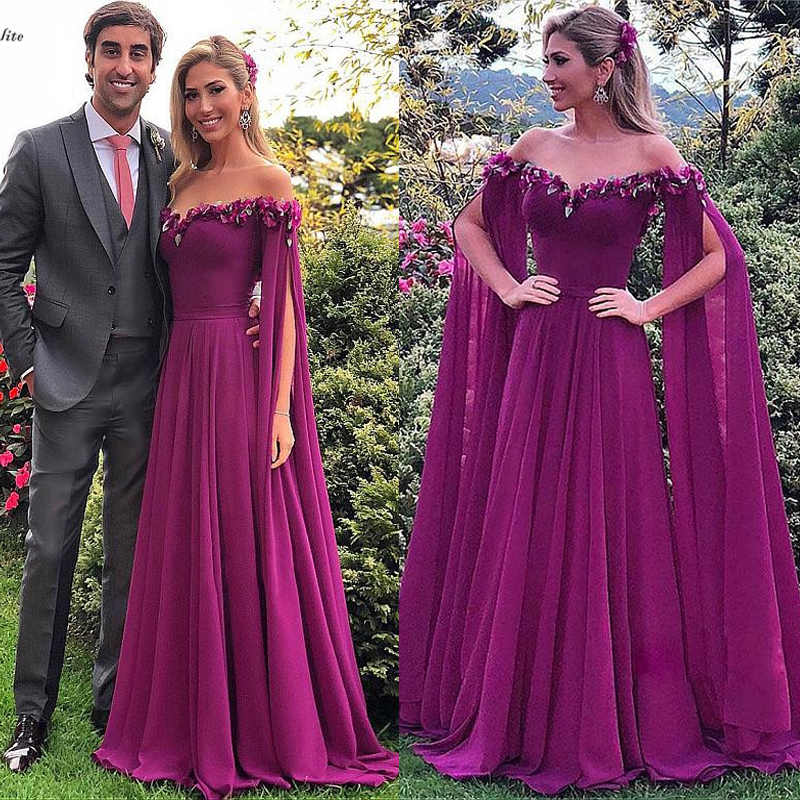 2019 Purple   Prom     Dresses   for Women Off Shoulder Zipper Back 3D Flowers Long Evening   Dress   Occasion Party Gown Robe De Soiree