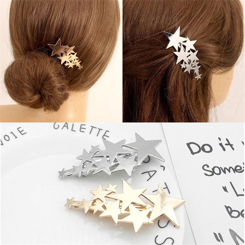 1PC Star Metal Hairpins Girls Barrette Hair Clips Hairgrip For Women Romantic Wedding Bridal Pentacle Hair Styling Accessories
