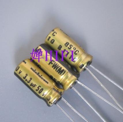 50pcs NEW NICHICON FW 3.3UF 50V 5X11MM 3.3uf/50v Audio Electrolytic Capacitor 50V3.3uF Filter Amplifier 50v 3.3uf