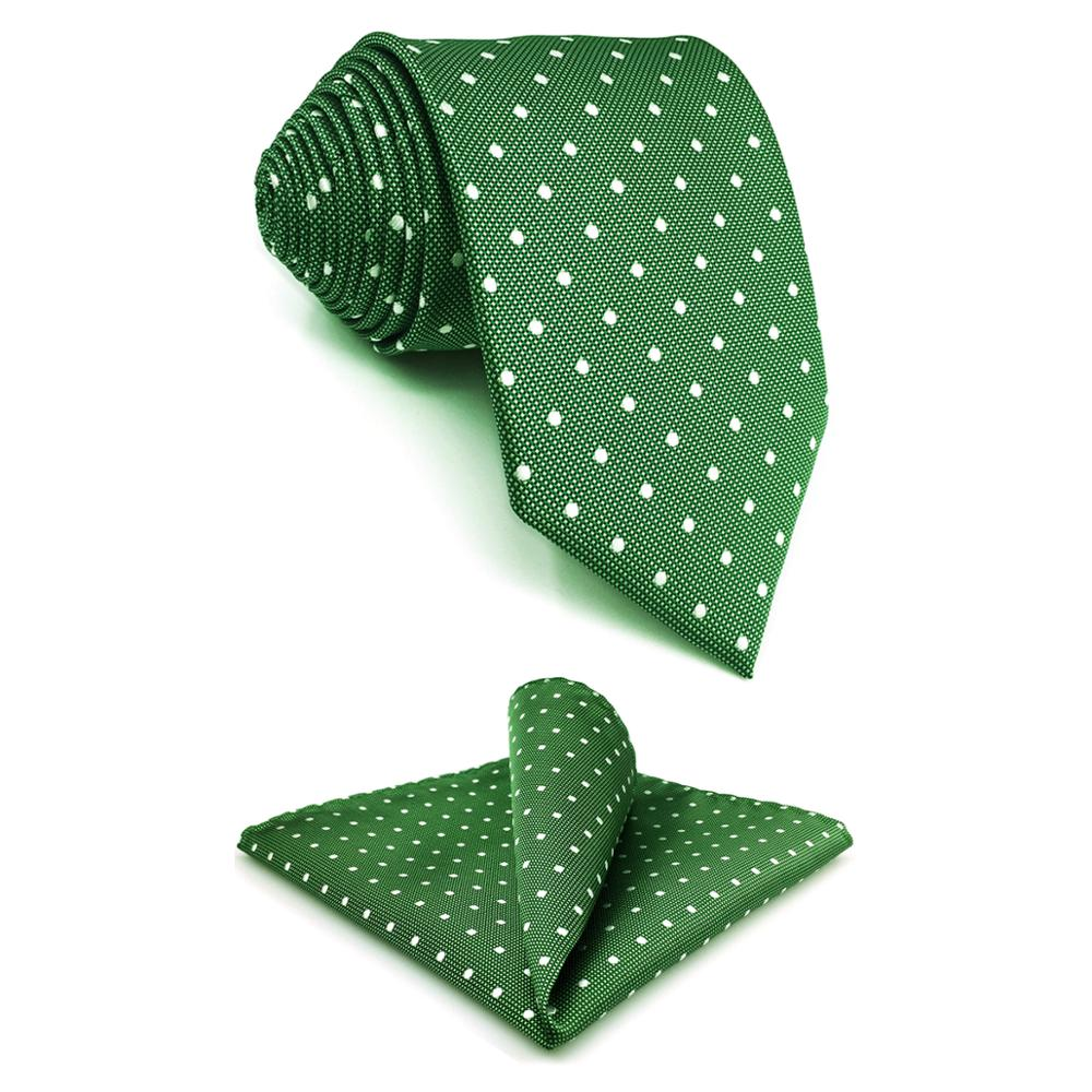 E21 Green Polka Dots Silk Mens Necktie Set Classic Fashion Ties For Male Brand New Accessory Hanky Extra Long Size