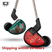 KZ AS10 5BA zestaw słuchawkowy bilans armatura sterownik ucha słuchawka hi fi bas Monitor słuchawki muzyczne ogólne ZS10 ZST BA10 ES4 24h wysłać