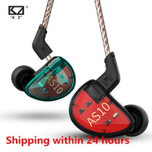 Kz AS10 5BA Headset Balance Armature Driver Ear Oortelefoon Hifi Bass Monitor Muziek Oortelefoon Algemene ZS10 Zst BA10 ES4 24 H Schip