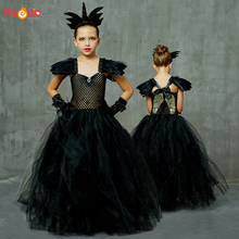 все цены на Angel of Darkness Black Fancy Girls Tutu Dress Elegant Princess Girl Birthday Party Halloween Costume Wings Kids Ball Gown Dress
