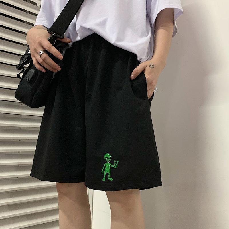 Korean Tide Aliens Harajuku Vintage Casual Dropshipping Regular Loose Big Size Straight BF Pantalones Jogger Bike Shorts Female