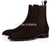 Qianruiti Chelsea Boots Suede Men Shoes Elastic Band Low heeled 2019 Autumn Simple Men's Boots Hot Sale