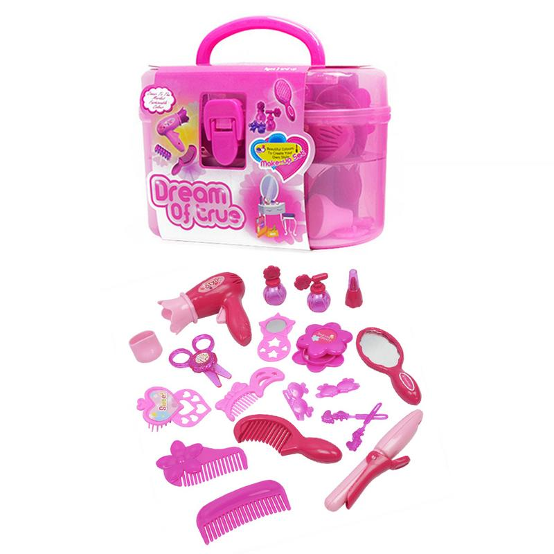 New Fashion Girl Beauty Salon Accessories Children's Games Toys Simulation Hair Dryer Play Home Dressing Beauty Jewelry Set
