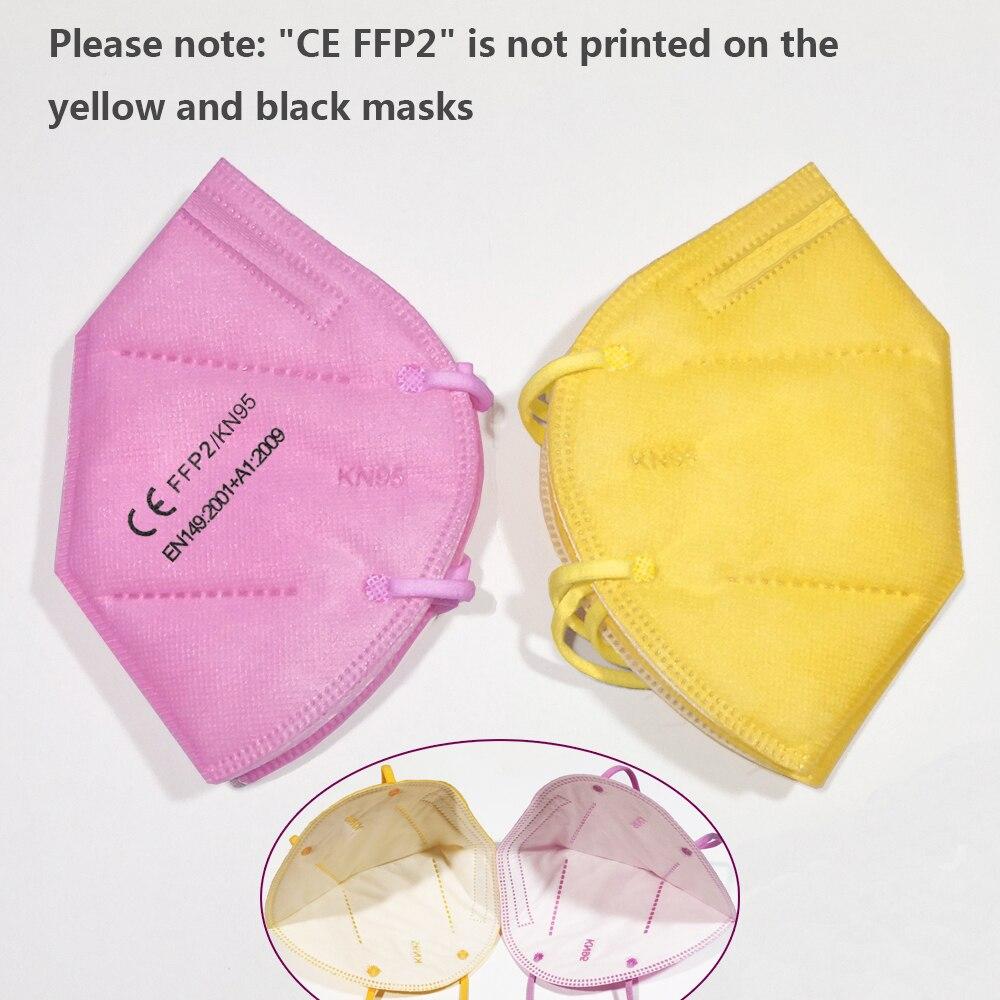 Masque FFP2 KN95 pour la protection faciale et buccale, avec filtre, anti-grippe, noir ou blanc 5