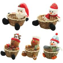 Christmas Doll Candy Storage Basket Fruit Storage Container Snowman Santa Claus Candy Barrel Festive Party Decoration Bowl baked doll christmas candy party dress