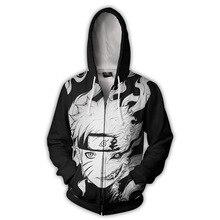 Naruto Hoodie Kurama Kyubi Zip Up Hoodies Men Print Naruto Jacket Sweatshirt Man Anime Plus Size Hooded Sweatshirt Men Clothes zip up lightning print plus size flocking hoodie and pants twinset