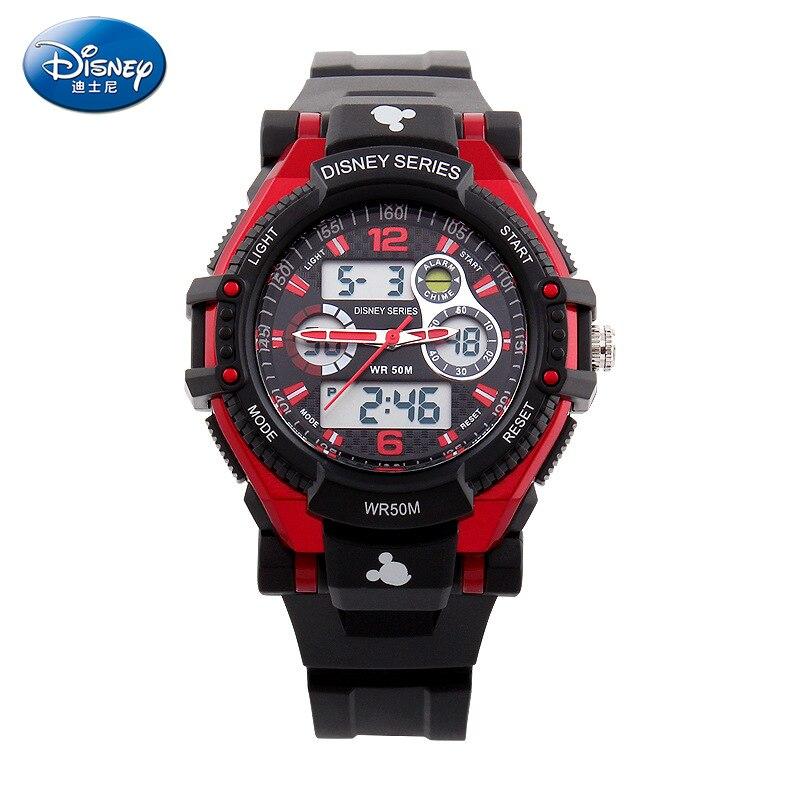 Оригинальный Disney Мальчики И Девочки 50 м Супер Водонепроницаемый Дети 27 лет Спорт Электроника Часы Круто Многофункциональный Двойной Дисплей Часы