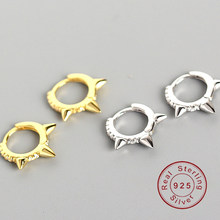 Ear clip punk geometry character buckle Small Circle 925 pure silver hoop earrings for women female Birthday Simple Jewelry(China)