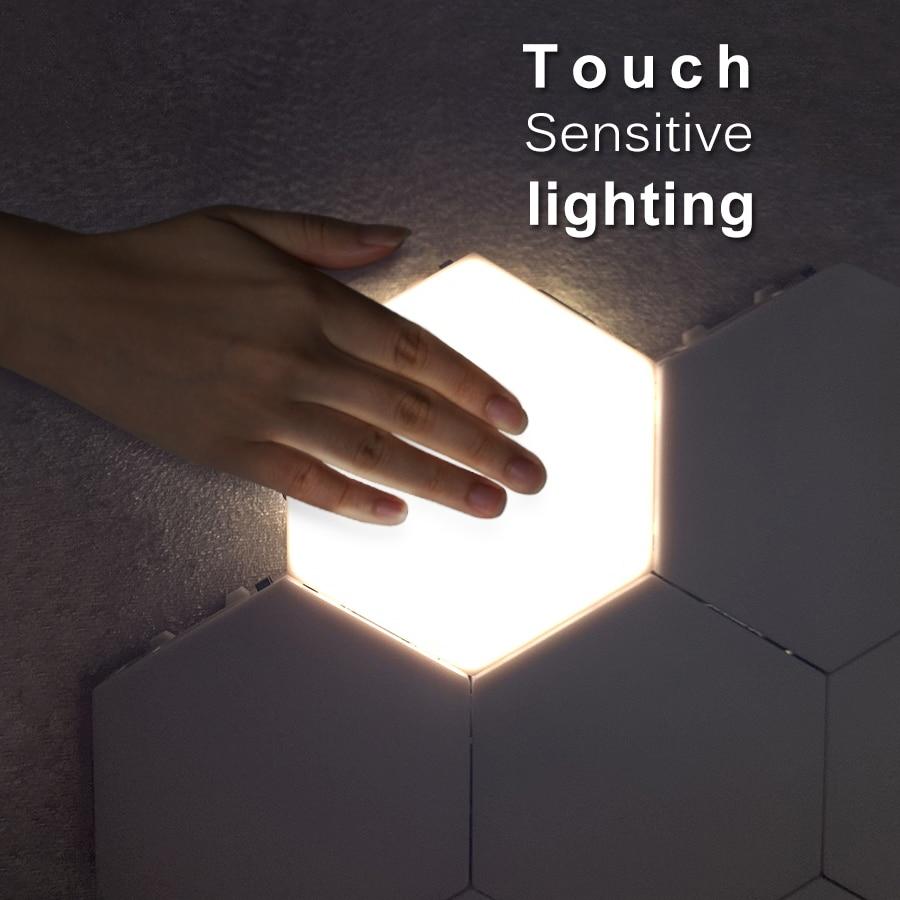 DIY Quantum Hexagonal Lamp Modular Touch Sensitive Lighting LED Night Light Magnetic Hexagons Creative Decoration Wall Lampara