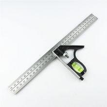 Diy ferramentas de medição de aço inoxidável precisa combinação de alumínio móvel quadrado oficina ângulo de ferragem nível espírito 12