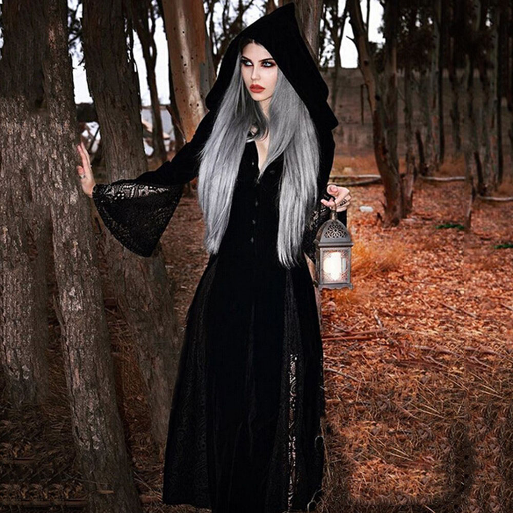 Gothic Dark Retro Hooded   Trench   Coat Fall Winter Sexy Perspective Lace Stitching Velvet Witch Halloween Vintage   Trench   Overcoats