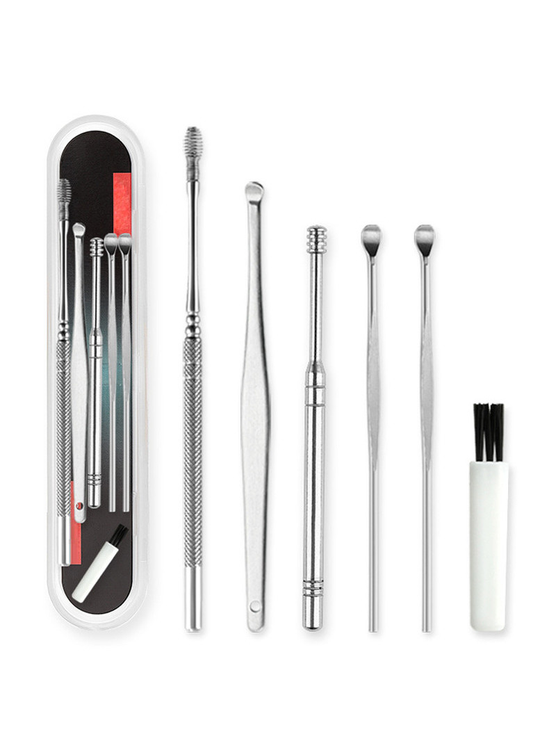 Cleaner Spoon Wax-Remover Earpick Curette Ear-Clean-Tool Stainless-Steel 6pcs/Set Care