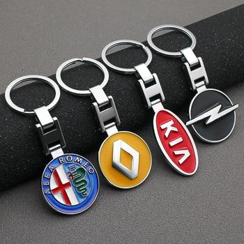 3D Metal alloy Car Styling Car Logo Fashion Keychain Key Chain Key Rings For Peugeot Mitsubishi Kia Hyundai Fiat Jeep Accessorie