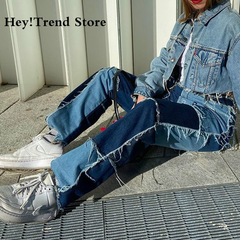 Hot High Waisted Jeans Women Casual Long Trouses Ladies Patchwork Fashion Denim Pants Capris Pocket Streetwear Pants Korean