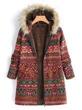 Kadın kış Arkas ceket Indie halk tarzı kadın uzun kollu fermuar bezelye ceket