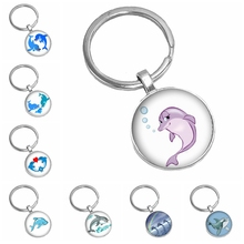2019 Hot Sale Cute Cartoon Dolphin Glass Cabochon Key Ring Art Picture Chain Fashion Gift  From The Batch