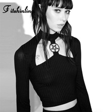 Fitshinling Pentagram Goth Dark Womens T-Shirts Tops Cut Out Punk Sexy Crop Top Female T-Shirt Long Sleeve Turtleneck T Shirt