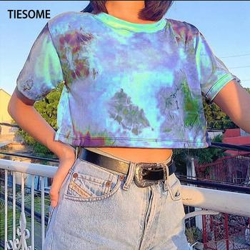 TIESOME Tie Dye Tops Tee Shirts Women Summer Short Sleeve Tee 2020 Hot Tie Dye Woman tshirts Harajuku Short Top ropa mujer frill trim self tie tee